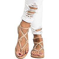 Été Femmes Dames Sandales Croix Sangle Plate Cheville Romaine Cusual Chaussures - Peep Clip Toe Chaussures Retourner Flops Plate Chaussures Lanière Zip Herringbone Chaussures