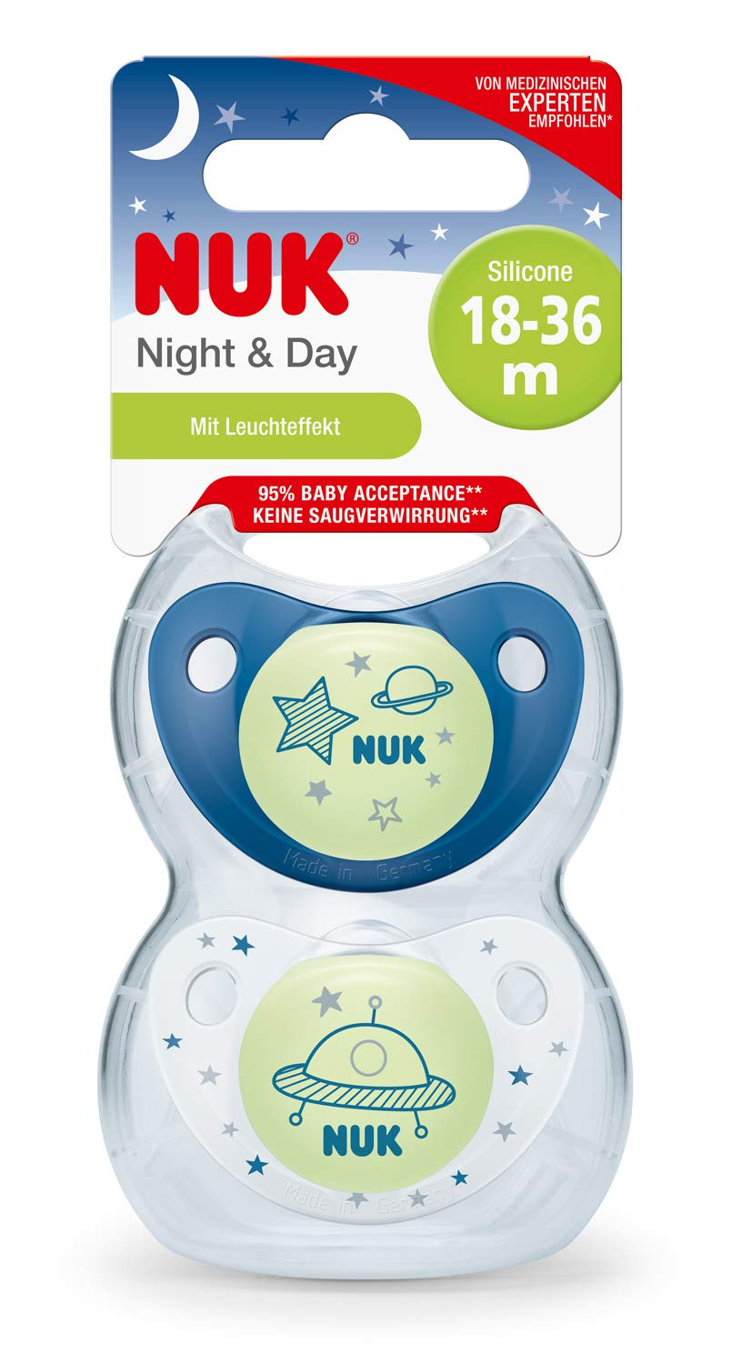 18-36 meses NUK 10177146 Trendline Night /& Day Chupete de silicona con efecto luminoso color azul