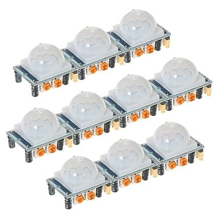 KKmoon Detectores 10pcs HC-SR501 IR infrarrojo piroel閏trico IR infrarrojo Sensor de movimiento