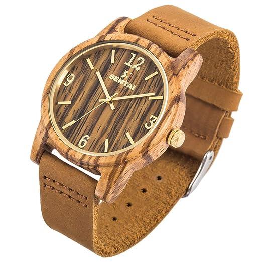 Sentai Natural de madera reloj, reloj de pulsera, relojes de cuarzo correa de piel, hecho a mano ligero, unisex: Amazon.es: Relojes