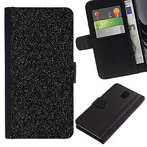 APlus Cases // Samsung Galaxy Note 3 III N9000 N9002 N9005 // Asfalto Negro Vía Sparkle Universo estático // Cuero PU Delgado caso Billetera cubierta Shell Armor Funda Case Cover Wallet Credit Card
