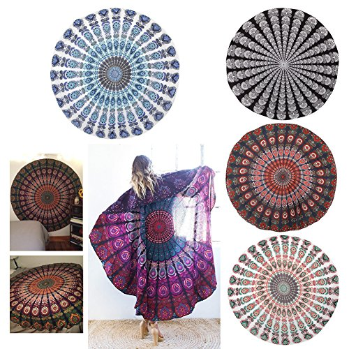 SCASTOE Popular Round Indian Feather Mandala Print Round Beach Throw Tapestry, Bohemia Gypsy Chiffon Beach Shawl, Chiffon Round Beach Throw Cover Up, Picnic Blanket