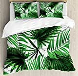 Ambesonne Palm Leaf Duvet Cover Set King Size by, Realistic Vivid Leaves of Palm Tree Growth Ecology Lush Botany Themed Print, Decorative 3 Piece Bedding Set with 2 Pillow Shams, Fern Green White