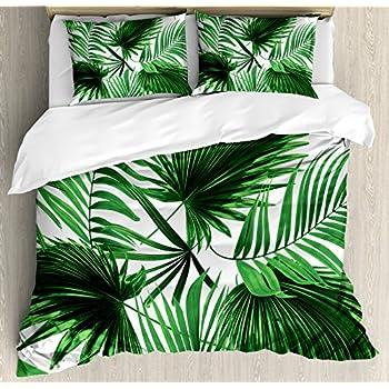Amazon Com Ambesonne Palm Leaf Duvet Cover Set King Size