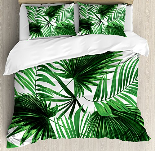 Ambesonne Palm Leaf Duvet Cover Set Queen Size, Realistic Vivid Leaves of Palm Tree Growth Ecology Lush Botany Themed Print, Decorative 3 Piece Bedding Set with 2 Pillow Shams, Fern (Leaf Queen Duvet)