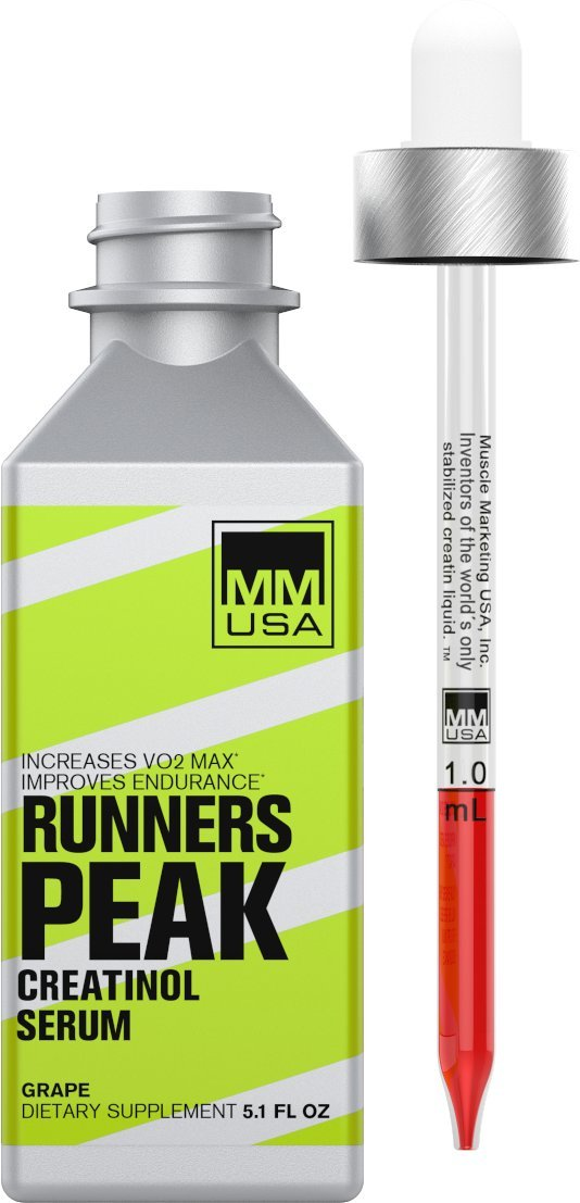 Runners peak creatinol serum by MMUSA, Run at higher pace, Defeats lactic acid, Run longer, Better focus, Stable Creatinol-O-Phosphate, Boosts Running Performance. L-Glutamine, L-Carnitine.