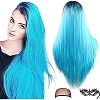 Peluca azul de Ombre Pelucas de disfraces de Halloween Parte media recta larga Raíces oscuras Pelucas de cosplay…