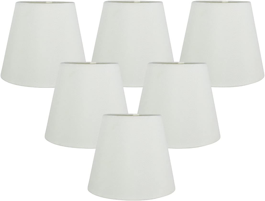 Meriville Set of 6 Eggshell Faux Silk Clip On Chandelier Lamp Shades, 4-inch by 6-inch by 5-inch