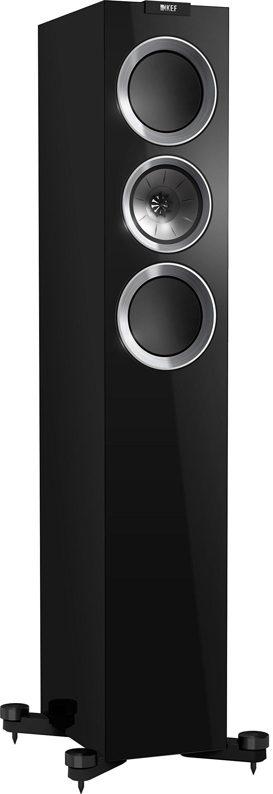 KEF R500 Floorstanding Loudspeaker - High Gloss Piano Black (Pair)