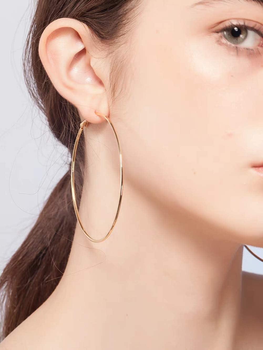 Uni-Fine 2 Pairs Big Round Circle Dangle Hoop Sleeper Earrings 50mm