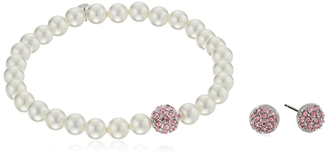 "Girls' Petite White Shell Pearl 5.5"" Bracelet with Sterling Silver Pink Crystal Charm and Matching Stud Earrings Set"