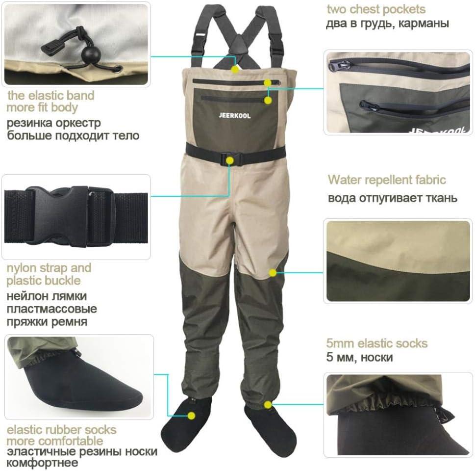 Muchen Pantalon de p/êche /à la mouche avec aqua Chaussures V/êtements Portable Commode Salopette Imperm/éable Wading Chaussette Pied Waders Bottes Respirantes