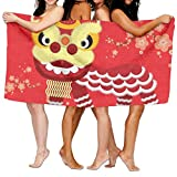 PengMin Chinese Lion Dance Premium 100% Polyester Large Bath Towel, Suitable For Hotel, Swimming Pool, Gym, Beach, Natural, Soft, Quick Drying