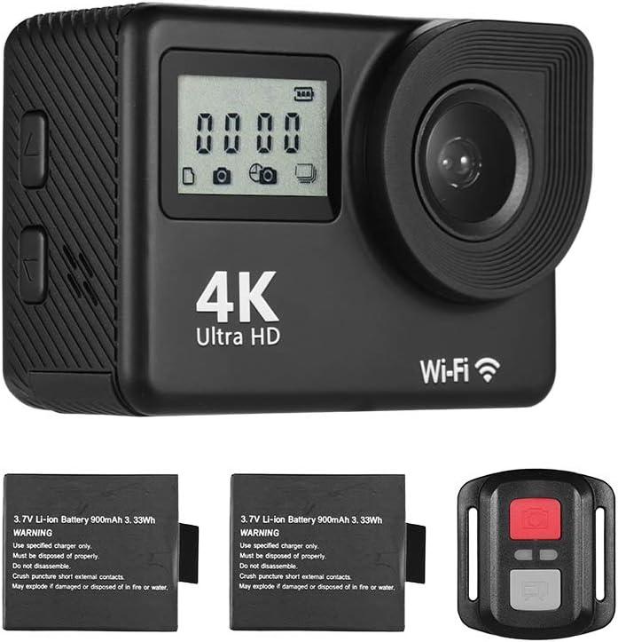 كاميرا رياضية 4K، كاميرا تصوير فومنند 4K الترا اتش دي واي فاي رياضية 18ميجا بكسل 170 درجة زاوية واسعة 2.0 بوصة شاشة LCD 30 متر مقاومة للماء مع بطاريتين ليثيوم أيون