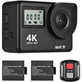 Honorall 4K Ultra HD WiFi Sports Action Camera 18MP 170° Wide Angle 2.0 Inch LCD Screen 30 Meters Waterproof with 2pcs…