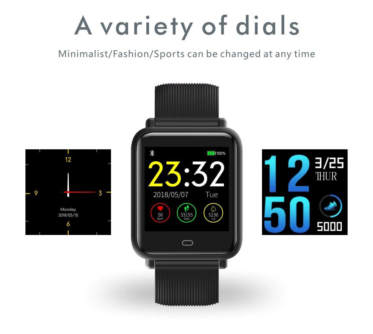 adolenb Fitness Tracker Q9 Multinacional Voz GPS Operación Smartwatch Impermeable IP67 Bluetooth Smartwatch para Android y iOS Smartphone
