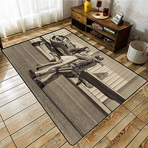 Classroom Rug,Vintage Airplane,Brunette Young Woman Hugging a Pilot Historical Aircraft Homecoming Image Print,All Season Universal Sepia