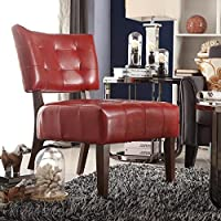 Contemporary/Modern Unique Faux, Bonded Leather Deep Button Tufted Chair (Cherry Red)