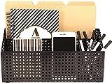 Blu Monaco Black Desk Mail Organizer - 3 Compartment Cubicle Desktop Caddy - Black Metal