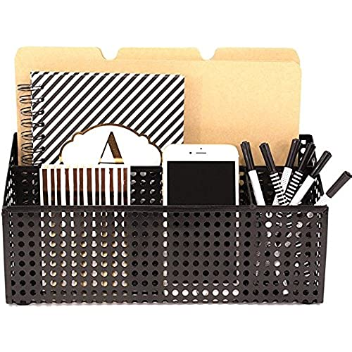 Blu Monaco Black Desk Mail Organizer For Women Or Men   3 Compartment  Desktop Caddy   Holds A Standard Letter Size File Folder, Paperwork, Mail,  Bills, ...
