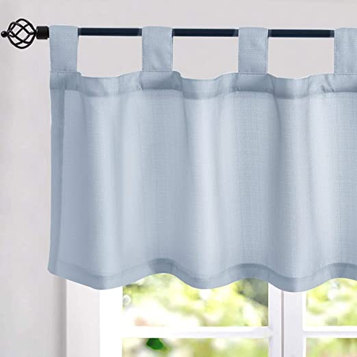 Amazon Com Faux Linen Textured Valance Curtains 16 Inches Long Tab Top Curtains For Kitchen Living Room Bedroom Window Treatments 1 Panel Blue Kitchen Dining