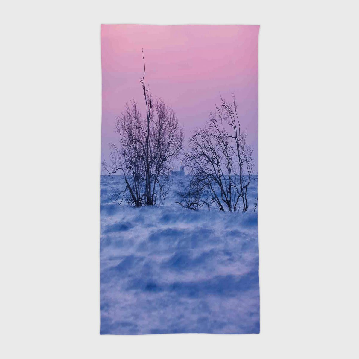 One Side Printing Hotel SPA Beach Pool Bath Hand Towel,Driftwood Decor Nature Theme Dead Trees in the Wavy Sea During Twilight Digital Image Blue and Pink,for Kids Teens and Adults