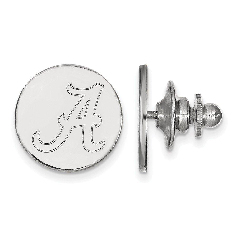 15mm x 15mm Jewel Tie 14k White Gold University of Alabama Lapel Pin