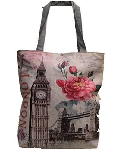 Lady girl's Women's London Skyline Printed Shopper Handbags, Souvenir Novelty Tote Handbags