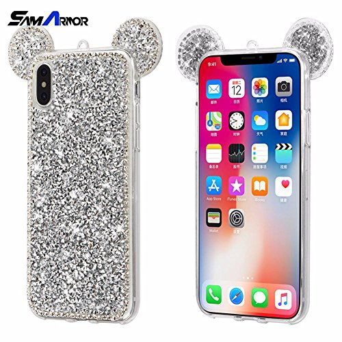 luxury diamond 3D Fashion Minnie Mickey Mouse Ears Case for iPhone X 6 6S 7 8 Plus Bling Glitter Cover Phone Bags Coque Soft TPU (Black/for iPhone 7 8)