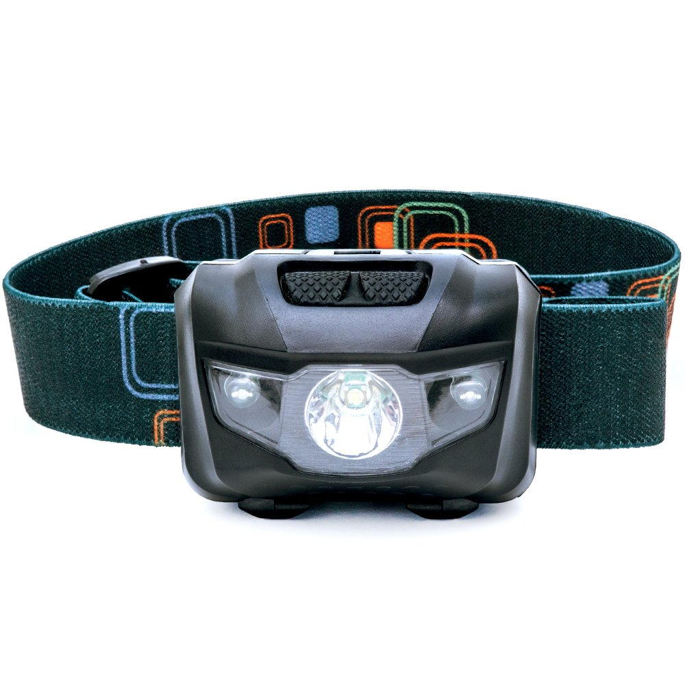 LED Headlamp Flashlight - Great for Camping, Hiking, Dog Walking, Kids. One of the Lightest (2.6 oz) Cree Headlight. Water & Shock Resistant with Red Strobe...