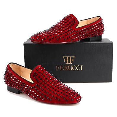 d0cbeb61ba7 FERUCCI Men Burgundy Velvet Slippers Loafers Flat with Black Spikes (7)