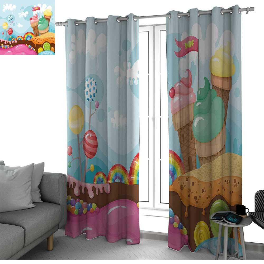 Ice Cream Decor Living, Dining Room, Bedroom Curtains Dessert Land with Rainbow Candies Lollipop Trees Cupcake Mountains Cartoon Blackout Curtain Multicolor W84 x L84 Inch
