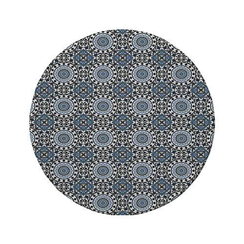 Ceramic Yoda (Non-Slip Rubber Round Mouse Pad,Arabian,Retro Style Arabesque Motifs Mosaic Ceramic Design Traditional Culture Print Decorative,Grey White Blue,11.8