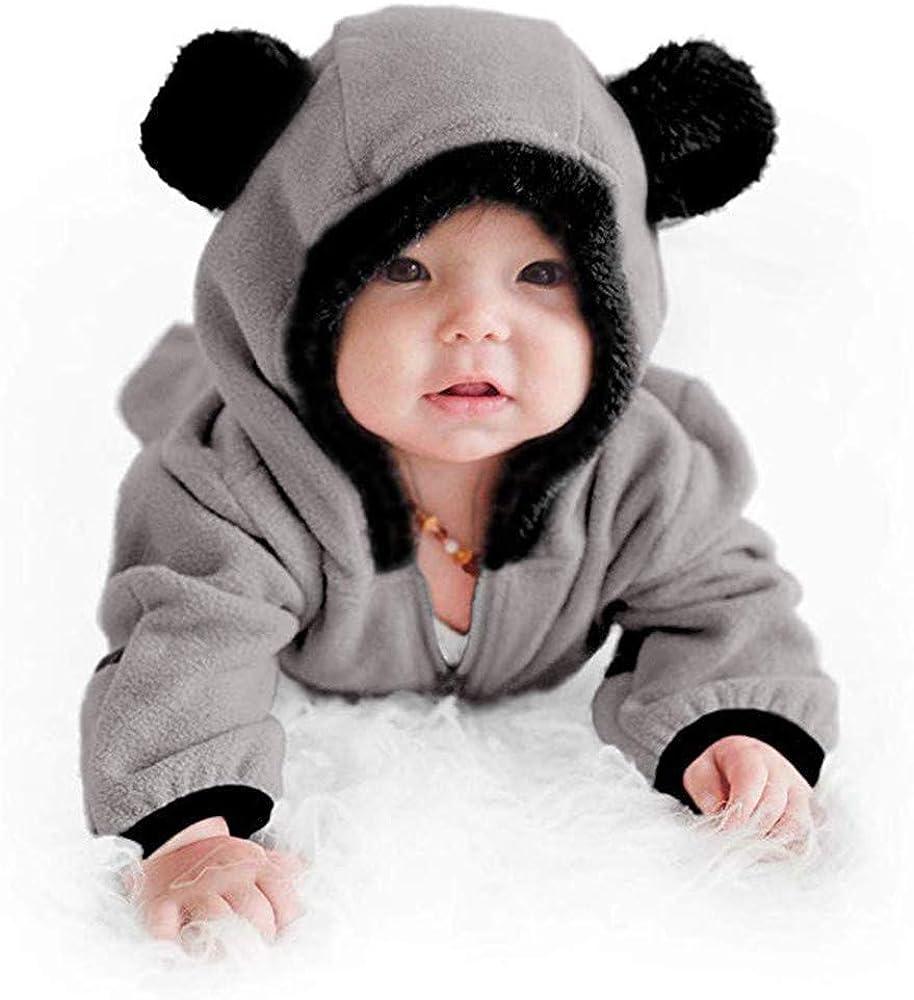 Monos Ropa Bebe Ni/ña Oto/ño Invierno 0-24 Meses Fossen Kids Ropa de Bebe Ni/ña Recien Nacida Cremallera Caricatura Oreja Mameluco Abrigo de Ni/ño Ni/ña con Capucha