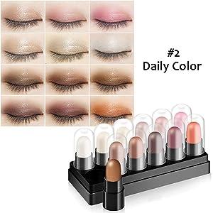 Eyeshadow Stick Set 12 Colors Glitter Eyeshadow Sticks Long Lasting Waterproof Shimmer Eyeshadow by Cutelove