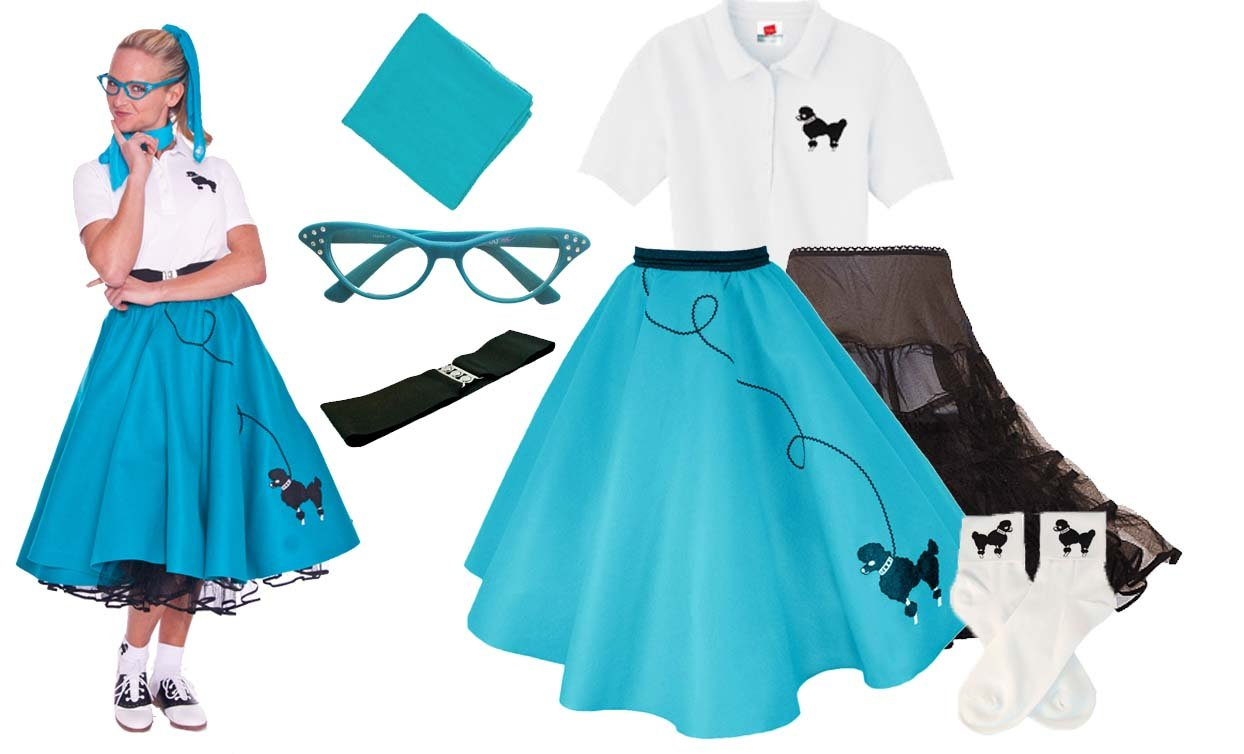 Hip Hop 50s Shop Adult 7 Piece Poodle Skirt Costume Set Teal Medium by Hip Hop 50s Shop (Image #4)