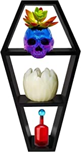 Pandora's Peculiar Parlour Coffin Shelf - Gothic Decor For The Home - Open Back Wall Shelf, Tabletop Shelf or Small Desktop Bookshelf - 14 Inches Tall by 7 Inches Wide