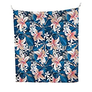Leaf Queen SizeSingapore Plumeria and Tropical Hibiscus Hawaiian Flowers Grunge DesignPink White and Dark Blue 21