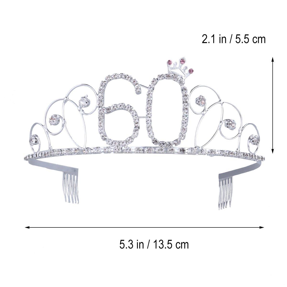 Frcolor Feliz cumpleaños 60th Crystal Rhinestone Tiara Crown