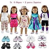 Barwa 7x = 5x Vestidos Verano Casual Ropas de deporte Vestir Diferentes Estilos + 2 pares Zapatos Accesorios para 18 Muñeca 46 cm American Girl Doll