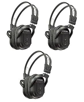 3 Paquete de dos canal plegable Universal sistema de entretenimiento trasero infrarrojos auriculares reproductor de DVD Head teléfonos para inalámbrico, ...