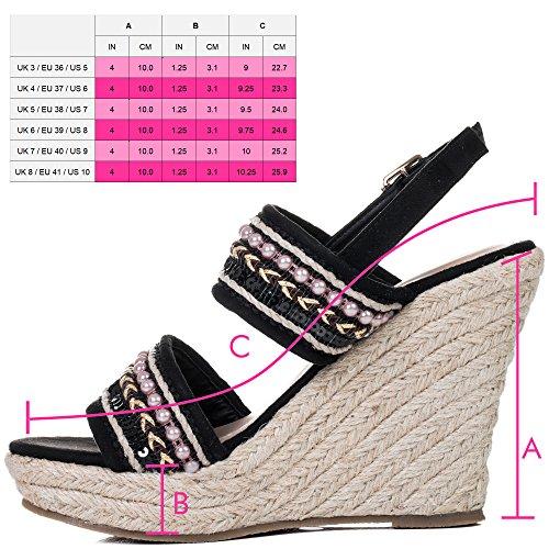 Spylovebuy Yada Yada Damen Verstellbare Schnalle Keilabsatz Sandalen Schuhe Pumps Schwarz - Synthetik Wildleder
