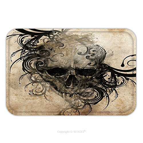 Flannel Microfiber Non-slip Rubber Backing Soft Absorbent Doormat Mat Rug Carpet Sketch Of Tattoo Art, Handmade Illustration_26846612 for Indoor/Outdo…