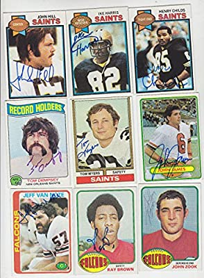 1976 Topps Signed On Card Jeff Van Note Atlanta Falcons Kentucky Wildcats # 153