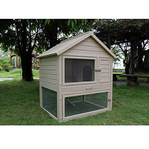 New Age Pet ECORH203-02 Huntington Rabbit Hutch, Tan ()