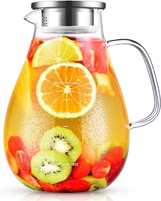 Glass Pitcher, veecom 80oz Water Pitcher with Lid, Large Glass Pitcher with Lid and Spout for Hot&Cold Beverage, Juice, Iced Tea Pitcher for Fridge, Borosilicate Glass Carafe/Jug with Brush