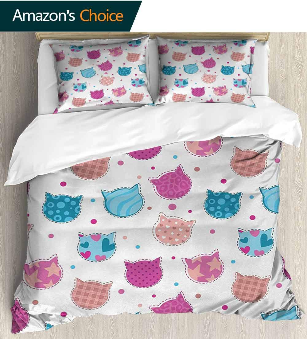 Teen Girls Full/Queen Size Quilt Bedding Set,Cat Heads Silhouettes with Stars Dots and Stripes Checked Patterns Patchwork 3 Piece Bedding Quilt Coverlets - 100% Cotton Bed Quilts Coverlet Fuchsia Blue