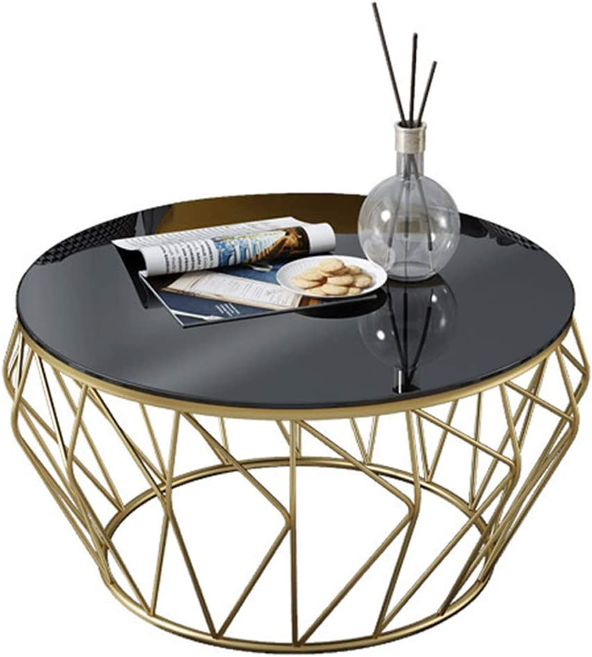 - Living Room Coffee Table Modern Side Table - Round Black Glass