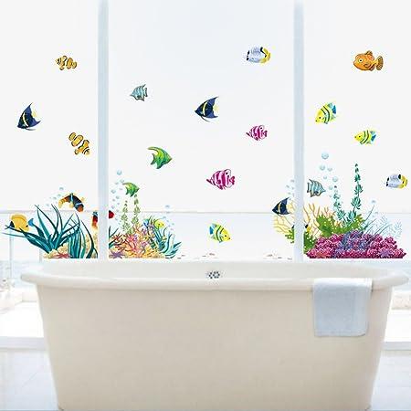 Pegatina baño fondo marino peces tropicales, 130 x 42 cm mampara ...