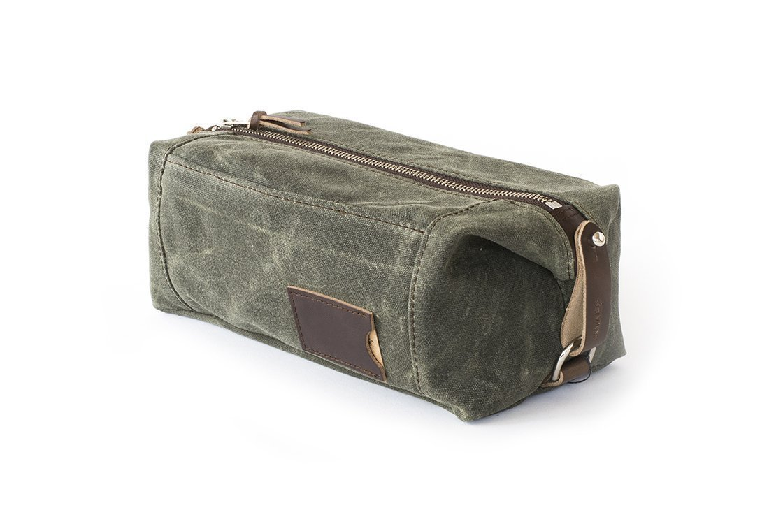 Waxed Canvas Dopp Kit: Large, Expandable, water-resistant, Hanging Toiletry Bag, Travel, Olive Green - No. 349 (Made in the USA)